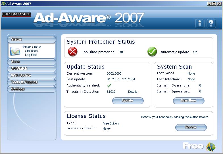 Update from version 12 and higher   adaware antivirus & ad block.